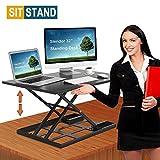 Standing Desk Stand Up Desks Height Adjustable 32 inch Sit Stand Converter Dual Monitor Ergonomic Air Riser Laptop Stands Large Rising Desktop Computer Table Workstation Foldable Extender Home Office