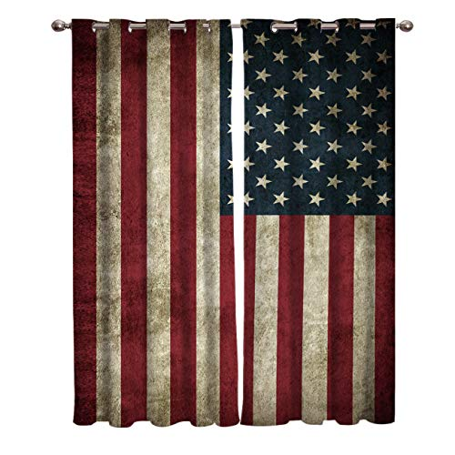 T&H Home American Flag Curtains, Blackout Curtain Silver Grommet Retro Stars and Stripes USA Flag Patterned Fabric 2 Panels Set, Darkening Draperies & Curtains for Living Room 80