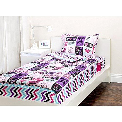 (4 Piece Purple Multi Rock Princess Theme Comforter Twin Set, Beautiful Rock n Roll Guitar, Peace Sign, Hearts, Floral, Stars Print, Chevron Pattern Reverse Bedding, Plush Polyester, For Girls/Teens)