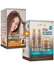 Kativa Brazilian Straightening- Formaldehyde Free // -Tratamiento Post Alisado Keratina - Champú 250 ml, Acondicionador 250 ml y Mascarilla 250 ml