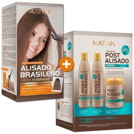 Kativa Brazilian Straightening- Formaldehyde Free // -Tratamiento Post Alisado Keratina - Champú 250 ml, Acondicionador 250 ml y Mascarilla 250 ml by KATIVA
