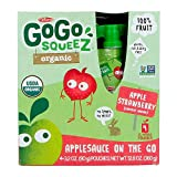 GoGo squeeZ Organic Applesauce on the Go, Apple Strawberry, 3.2 Ounce (4 Pouches), Gluten Free, Vegan Friendly, Healthy Snacks, Unsweetened Applesauce, Recloseable, BPA Free Pouches