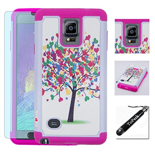 [ Samsung Galaxy Note 4 / N910 ] ToPerk Cyber Graphic Armor Case + Free HD Screen Protector & ToPerk TM Stylus Pen As Bundle Sale - Love Tree