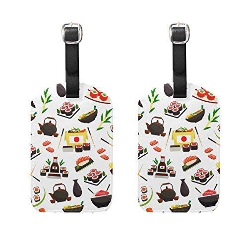 Travel Luggage Tags Cartoon Japanese Sushi PU Leather Baggage Suitcase Tag Identify 2 Pieces