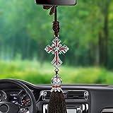 Follicomfy Car Pendant Crystal Diamond Jesus Cross Automobile Rearview Mirror Christian Decor Hanging
