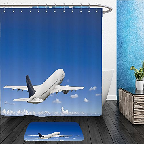 Beshowereb Bath Suit: ShowerCurtian & Doormat civil airliner over a deep blue sky with some cloud (Civil Suits)