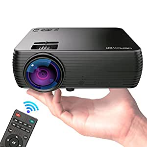 """Projector, DBPOWER Mini Portable Video Projector 176"""" Display 50,000 Hours LED Full HD Projector 1080P 2018 Released, Compatible with HDMI VGA AV USB TF Amazon Fire TV Stick"""