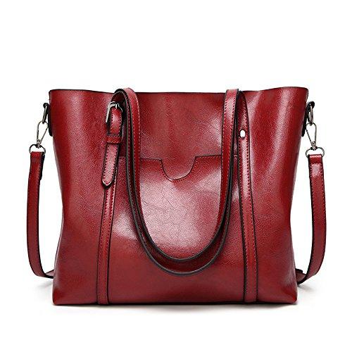 LQQAZY Borsa A Mano Donna Retrò Messenger Bag Europa E America Red