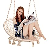 Sumey Macrame Swing Nordic Style Hanging Chair Swing Chair Design 265 Libra Capacidad, Suitable for The Living Room Reading, Balcony, Outdoor Rest