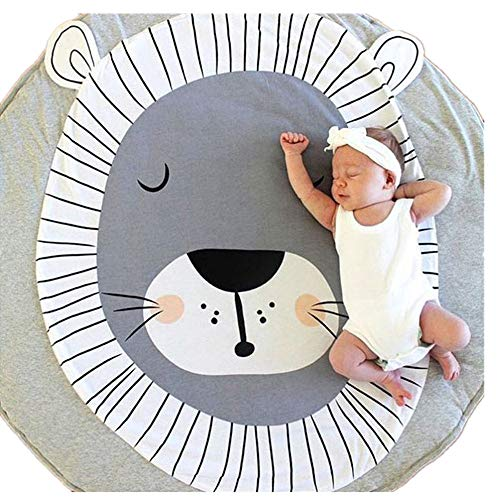 Abreeze Kids Nursery Rug Lion Shaped Play Mat Round Carpet Cartoon Lion Design Home Room Decor 35X37 inches from Abreeze