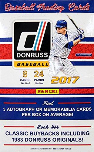 [2017 Panini Donruss Baseball Hobby Box (24 Packs of 8 Cards: Parallels, Rookies, Variations, Autographs, Memorabilia)] (Baseball Parallel Card)