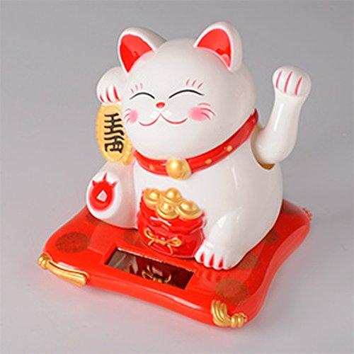 Beautiful White Solar Powered Maneki Neko Beckoning Lucky Money Cat 79124 by Giftman