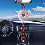 MATEPROX Car Hanging Decoration, Dangling Ornaments Vehicle Accessory Rearview Mirror Charms Pendant Jesus Natural White Jade Stone Decor Red Apple Amulet Pray for Luck Safety-Apple