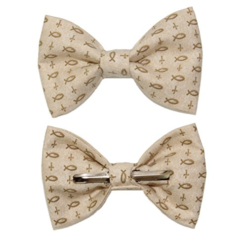 Cotton Cross Tie - Boys Beige With Christian Fish/Crosses Clip On Cotton Bow Tie by amy2004marie