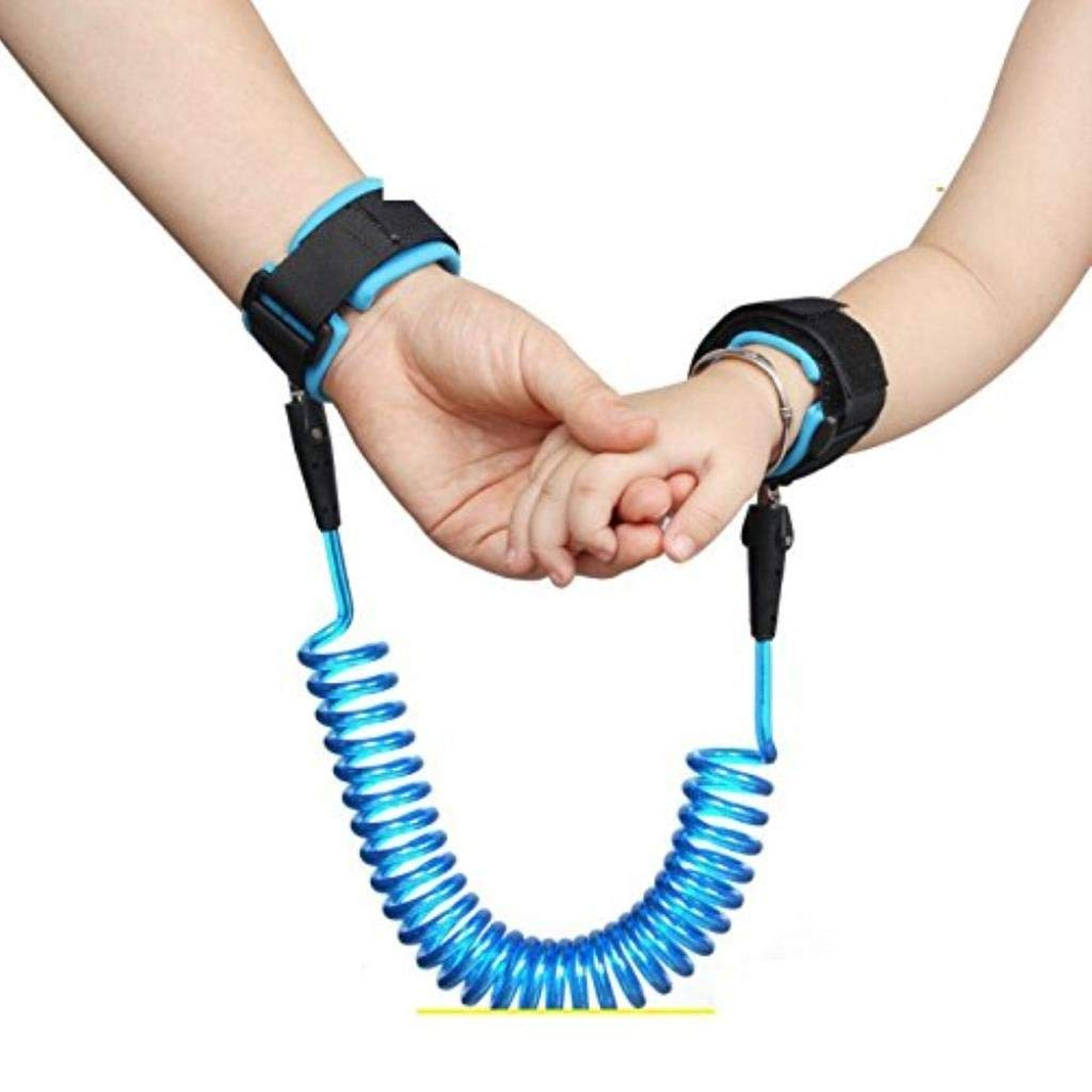 Anti Lost Safety Wrist Strap, Baby Harness and Reins for Toddlers Walking Security Lock Retractability Wrist Link Belt Set Blue Traveling Shopping Helper (Color : A)