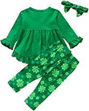 oklady Toddler Baby Girl St. Patrick's Day Outfits Green Tunic Top Dress Four Leaf Clover Pants Clothes