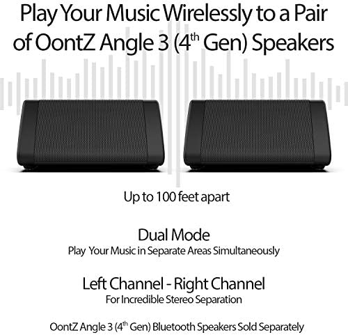 OontZ Angle 3 (third Gen) - Bluetooth Portable Speaker, Louder Volume, Crystal Clear Stereo Sound, Rich Bass, 100 Ft Wireless Range, Microphone, IPX5, Bluetooth Speakers by way of Cambridge Sound Works, Black