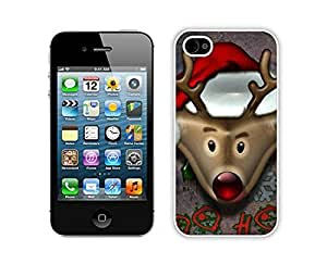 Personalized Christmas Deer White iPhone 4 4S Case 4