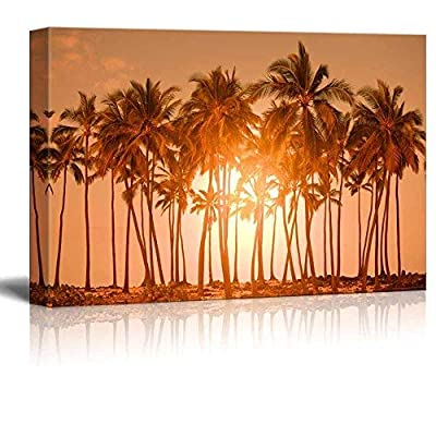 Canvas Prints Wall Art - Beautiful Scenery/Landscape Palm Trees on Tropical Beach Nature Beauty | Modern Wall Decor/Home Decoration Stretched Gallery Canvas Wrap Print & Ready to Hang - 24