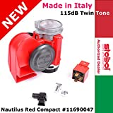 Authentic Stebel #11690047 Nautilus Compact Red Car Air Horn 12v 139dB Italy