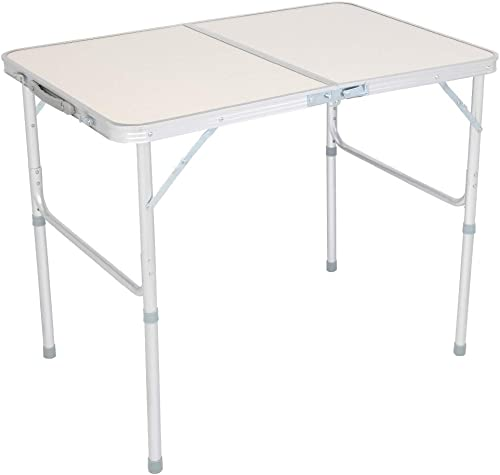Folding Utility Table, Fold-in-Half Portable high-Strength Aluminum Picnic Party Dining Camp Table, 35.43 x 23.62 x 27.56 , Suitable for Camping Indoor Garden White