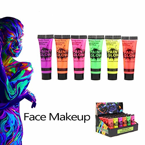 Colorful Fluorescence Makeup Maquillage Cream Face Body Paint Nail Polish Glow in Dark for Nightclub Bar Set of 6 -