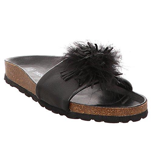 075sgr-0292-0186 De Verveines Femmes Sabots Noir Noir Noir