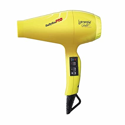 Babyliss Pro - Secador luminoso ionico, 6 ajustes de calor y velocidad, 2100 W, color amarillo