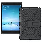 Heartly Flip Kick Stand Spider Hard Dual Rugged Armor Hybrid Bumper Back Case Cover For Xiaomi Mi Pad 2 / Mi Pad 3 - Rugged Black