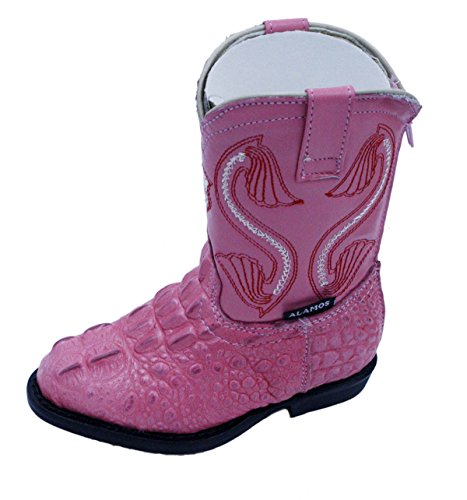 Kids baby crocodile print genuine leather cowboy boots_Pink_baby size_2