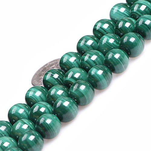 - 10mm Round Gemstone Malachite Grade A Beads Strand 15 Inches Jewelry Making Beads