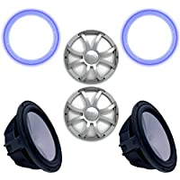 Wet Sounds Two Revo 12 Subwoofers, Grills, RGB LED Rings - Black Subwoofers & Silver XS Grills - 4 Ohm