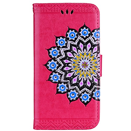 Wallet Leather Case for iPhone X,Stand Flip Case for iPhone X,Herzzer Bookstyle Stylish Glitter Bling Pretty Mandala Flower Pattern Magnetic Card Holders PU Leather Case with Soft Inner - Gold Color #5