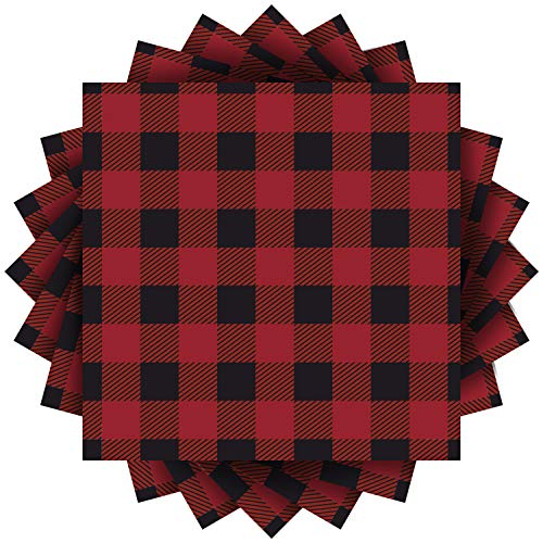 Aneco 60 Pack Red and Black Plaid Papers Napkins Luncheon Napkins for Wedding, Party, Birthday, Dinner, Lunch with 3 Layers, 6.5 by 6.5 Inches