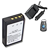 Amsahr S-BLS5 Digital Replacement Battery Plus Travel Charger for Olympus PS-BLS5, E-P3 with Lens Accessories Pouch (Gray)