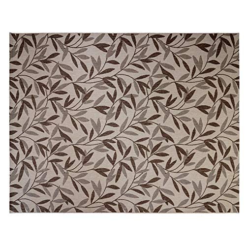 Leaves Beige - Gertmenian 21568 Coastal Tropical Carpet Outdoor Patio Rug, 8x10 Large Beige Willow Leaf