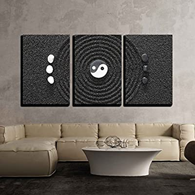 3 Piece Canvas Wall Art - Zen Garden in Black Sand - Modern Home Art Stretched and Framed Ready to Hang - 24