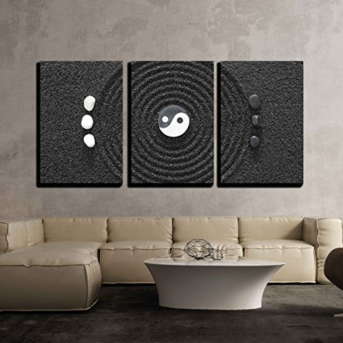 wall26 - 3 Piece Canvas Wall Art - Zen Garden in Black Sand - Modern Home Decor Stretched and Framed Ready to Hang - 24