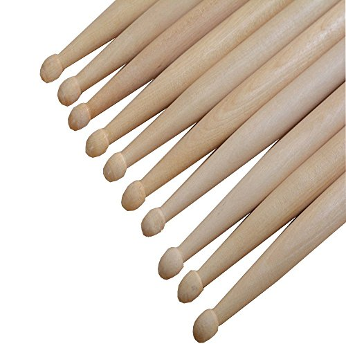 7 A Drumsticks Twinbuys Maple Drum Sticks Wood Wooden Tip Band Musical Instrument Drumsticks Red 1 Pair