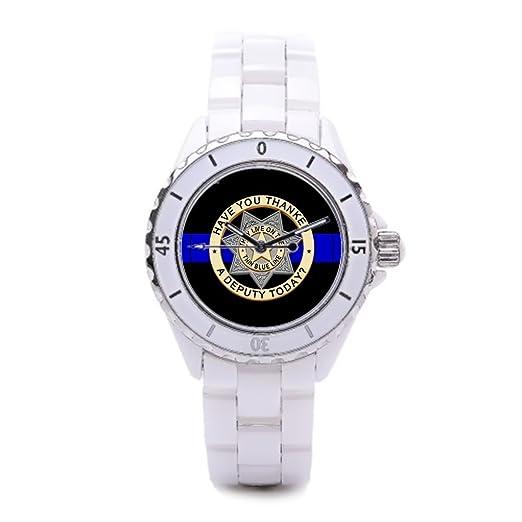 Fina línea azul bandas de ceramica reloj de pulsera, reloj Honor Valor reloj de cerámica de las mujeres: Amazon.es: Relojes