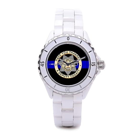 Fina línea azul bandas de ceramica reloj de pulsera, reloj Honor Valor reloj de cerámica