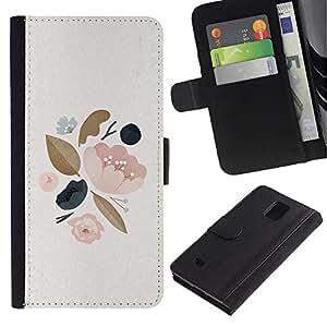 Paccase / Billetera de Cuero Caso del tirón Titular de la tarjeta Carcasa Funda para - Leaves Tree Spring Apple Blossom Peach - Samsung Galaxy Note 4 SM-N910
