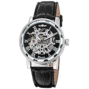 Gute Classic Skeleton Watch Unisex Steampunk Auto Self Wind Wrist Watch – Black Dial Silver Watch Case