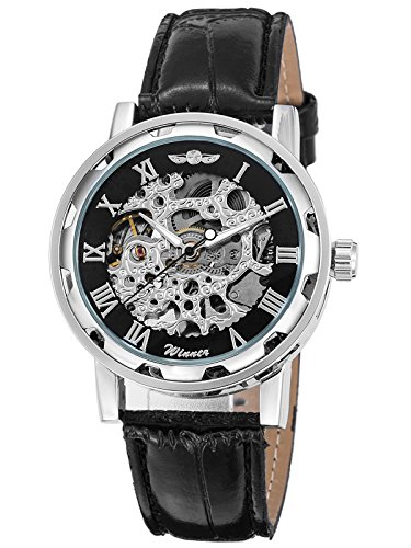Men's Watch, Mechanical Skeleton Steampunk Design Automatic Self-Winding Roman Numeral Silver Case PU Leather Wrist… 3