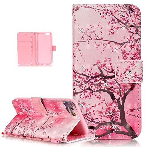 """Price comparison product image iPhone 6S Case, iPhone 6 Case, ikasus Shiny Glitter Diamond Colorful Art Painting PU Leather Flip Wallet Pouch Stand Credit Card ID Holders Case for Apple iPhone 6 / 6S (4.7""""), Pink Plum Blossom Flower"""
