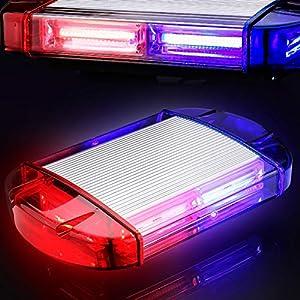 126 Luz Azul & rojo LED estroboscópica intermitentes para emergencia peligro advertencia vehículos de construcción luz minibar luz de advertencia luminosa con base magnética 21