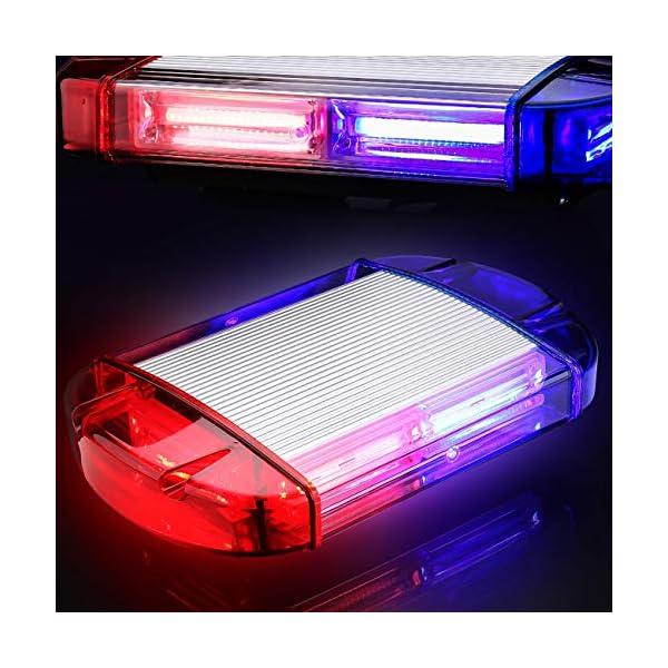 126 Luz Azul & rojo LED estroboscópica intermitentes para emergencia peligro advertencia vehículos de construcción luz minibar luz de advertencia luminosa con base magnética 1