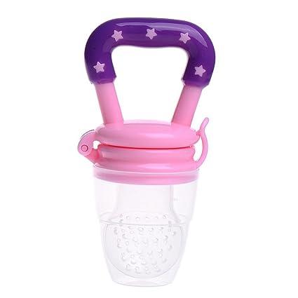 Alimentador para bebés de silicona, suave y seguro, para darle alimentos frescos rosa rosa Talla:S