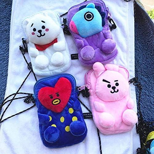 Kunandroc Kpop BTS Mignon en Peluche Bandouli/ère Sac Chic Petits Sacs /À Bandouli/ère Bourse De Poche De T/él/éphone Portable