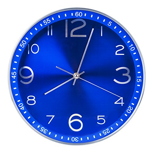 Egundo 12 Inches Silent Metal Wall Clocks,Non-ticking Quartz Movement Analog Battery Operated Large Clock,Modern Home Decorative for Living Room Kids Boys Bedroom Kitchen Office Classroom(Royal Blue)